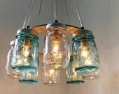 Beach House Mason Jar Chandelier - Upcycled Hanging Mason Jar Lighting Fixture Direct Hardwire - Modern BootsNGus Lamps Rustic Home Decor