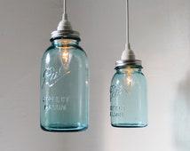 Sea Glass Mason Jar Pendant Lights - Set of 2 Hanging Antique Blue BALL Mason Jar Lighting Fixtures - BootsNGus Lamps - Modern Home Decor