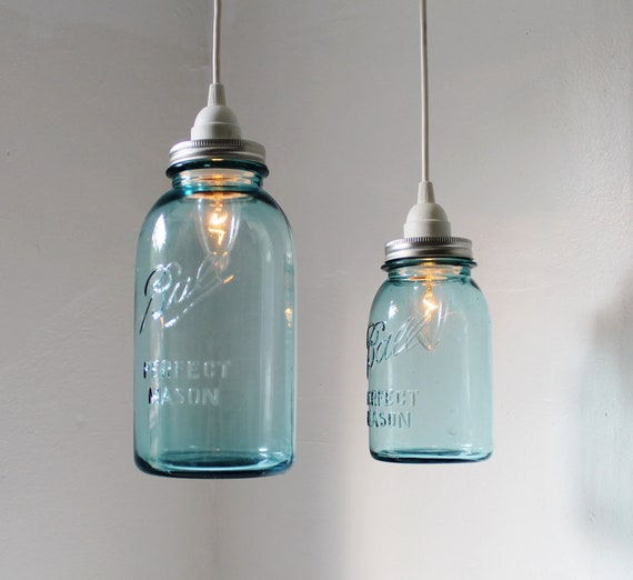 Sea Glass Mason Jar Pendant Lights - set of 2 hanging antique blue BALL perfect mason jar lighting fixtures - BootsNGus Lamps