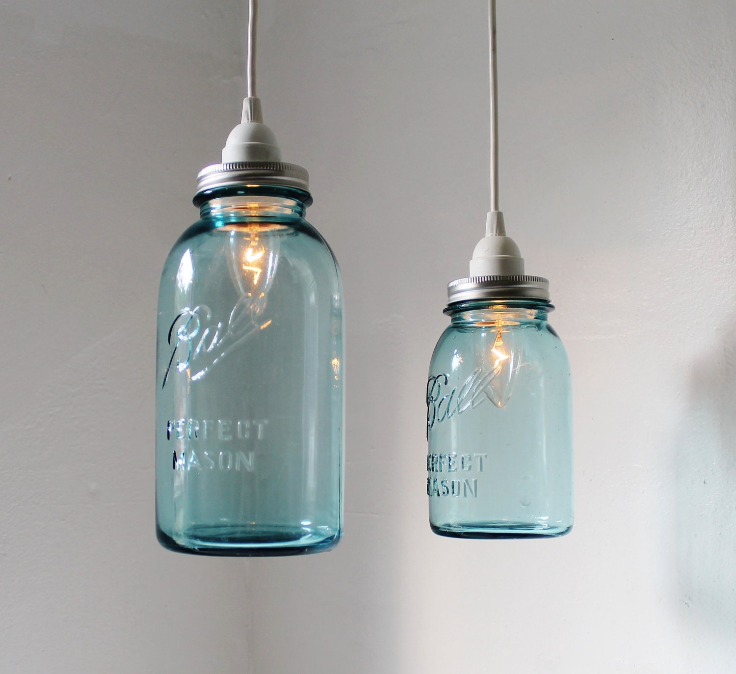 Sea glass mason jar pendant lights set of 2 hanging antique for Hanging lights made from mason jars