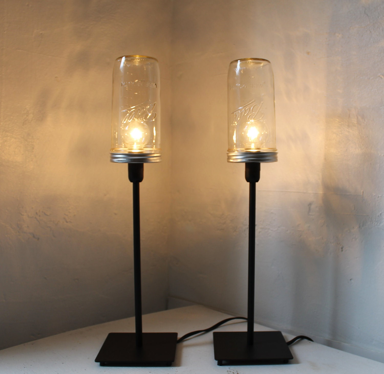 Stargaze Set Of 2 Hanging Mason Jar Pendant Lights By: Industrial Lights Set Of 2 Mason Jar Lamps Upcycled Table