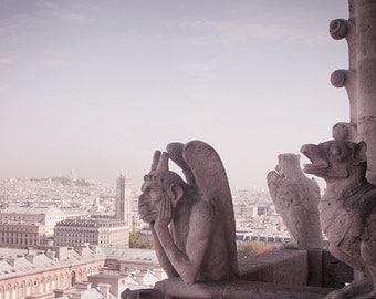 Paris Photograph - Gargoyle on Notre Dame Cathedral, City View, French Home Decor, Paris Wall Decor