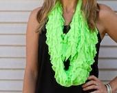 Infinity Ruffle Scarf Neon Green