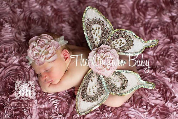 SEQUIN BEAUTY Limited Edition Sequin Vintage Dusty Pink Butterfly Wings and Headband Photo Prop First Photos
