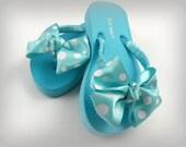 Aqua Polka Dot Boutique Style Flip Flops, Toddler Flip Flops, Little Girl Flip Flops, Tween Flip Flops, Adult Flip Flops