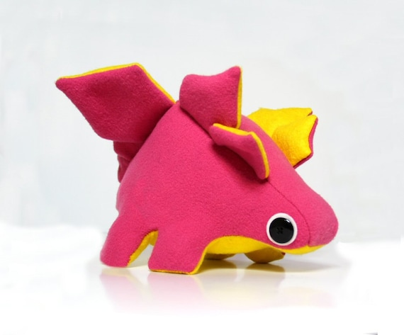 SALE Eco Plush Stegosaurus Dinosaur in Hot Pink with Bright Yellow Accents Handmade with Upcycled, Recycled, & Eco Friendly Materials