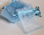 NEW 50pcs Light Blue 2.8 x 3.4 Organza Bags - Baby Blue. Sky. For Gifts, Favors, Weddings, Baby Showers, Jewelry, Soap, Fragrance Sachets