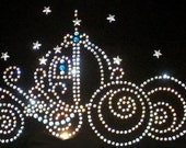 "8.5"" CLEAR Cinderella iron on rhinestone transfer for Disney costume"
