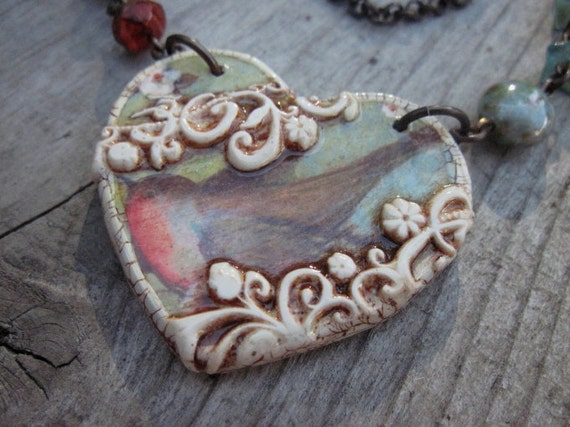 RESERVED Carol Davidson Chastain  Necklace Robin Heart in Polymer Clay Necklace