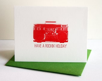 Letterpress Holiday Card  - Rockin' Holiday