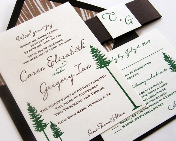 Camping Wedding Invitations: Letterpress Wedding Invitation Custom Set Rustic Camp