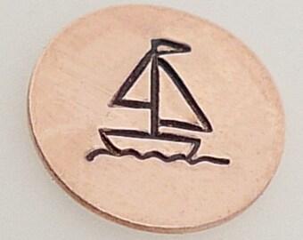 Sailboat Metal Design Stamp 5mm - Metal Jewelry Stamping Tool The Urban Beader