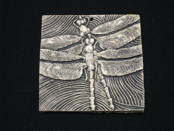 Two Dragonflies 4x4 ceramic porcelain insect relief tile