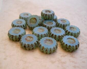 Czech glass blue Opal carved coin premium Bohemian beads 13mm (6) Item 3022