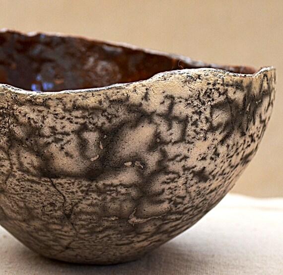 Naked Raku Bowl. Red Flame Bowl. Ceramic Raku Organic Zen Pot.  Nature Inspired Ceramic Bowl. Lichen Bowl