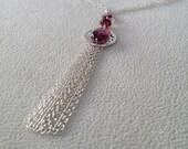 Rhodolite Garnet and Garnet Tassel Pendant Necklace in Sterling Silver
