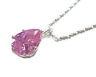 Pink cubic zirconia pendant birthstone necklace october rose faceted pear sterling silver chain bridesmaid prom weddimgs