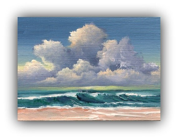 ACEO Original Seascape Beach Painting, Cloudscape, 2.5 x 3.5 Inches, (Not a Print)