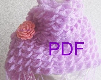 PDF CROCHET PATTERN pattern for scarf, shawl, Tutorial,