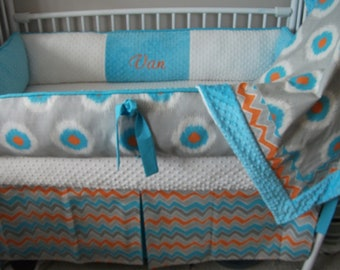 Gray blue orange CHEVRON Bumper Pad Baby Crib Set DEPOSIT PAYMENT Only