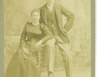 Norwalk CT Married Couple Victorian Husband Wife Sitting Studio Portrait Cabinet Card Photo Antique Photograph