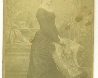 Streatham London Victorian Woman Black Bustle Dress Gown Studio Portrait Cabinet Card Photo Antique Photograph