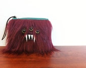 Small Burgundy Monster Pouch- Three Olive Eyes