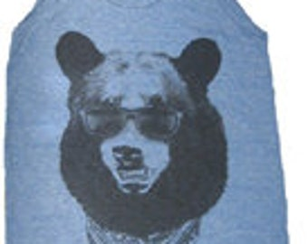 Gangster Bear Unisex (Mens) Tank Top American Made Blue    S M L  or XL