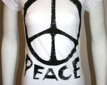 Vintage style Peace Sign Print White T-shirt Ladies XS or  M