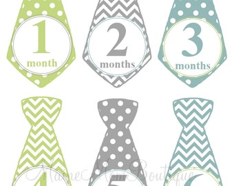 GIFT, Baby Monthly Stickers,  Baby Boy Month Stickers, Tie Stickers, Photo Prop, Baby Shower Gift