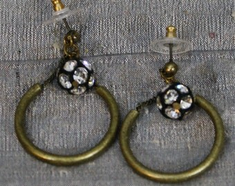 Rhinestone Ball and Brass Ring Earrings