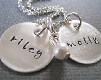 Hand Stamped Mommy Necklace - Personalized Sterling Silver Custom Jewelry - Two Name Discs with Pearl