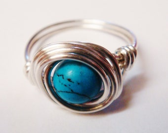 Turquoise Ring - Turquoise Jewelry - Sterling Silver Ring - Wire Wrapped Ring - December Birthstone - December Birthday