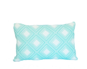 clearance discontinued 50 % off  huge sale geometric turquoise blue white tin celing pillow cover throw 12x18 linen graphic home decor