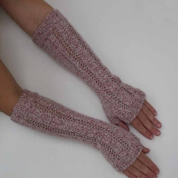 Long Arm Warmers Knitting Pattern : Long Hand Knit Arm Warmers Fingerless Gloves or by KweenBee