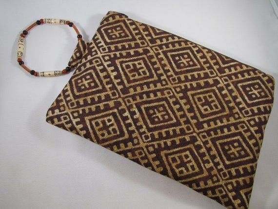 Safari Brown and Cream Print Wristlet with Handmade PLUS Sized Copper Bangle Handle- SALE
