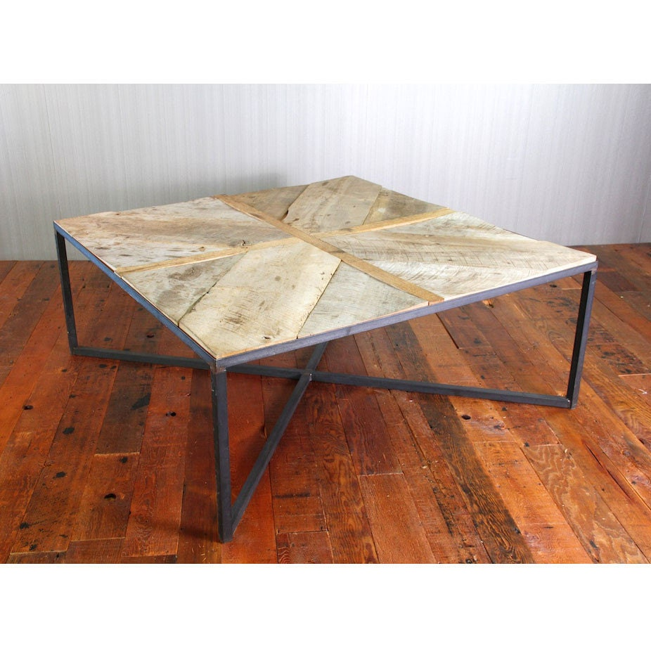 Modern reclaimed wood coffee table with steel base Recycled wood coffee table