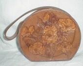 RESERVED until Dec 20 for J Vintage tooled leather rose flower round purse handbag