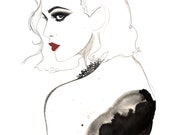 Original watercolor and charcoal fashion illustration by Jessica Durrant titled, The Vamp