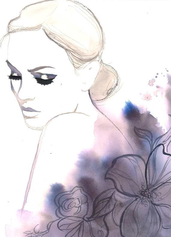 Print from original watercolor, charcoal and pen fashion illustration by Jessica Durrant titled Evening Rapture
