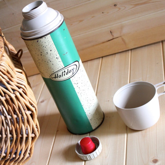 Vintage Holiday thermos turquoise and speckled cream