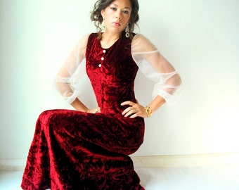 70's Vintage Crimson Red Crushed Velvet Dress / Sheer White Balloon Blouson Sleeves / Long Maxi Gown