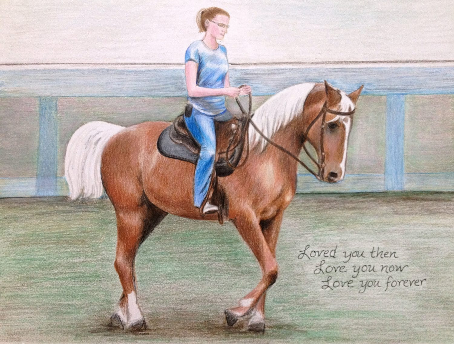 Custom Drawing Horse & Rider Colored Pencil Portrait ��zoom