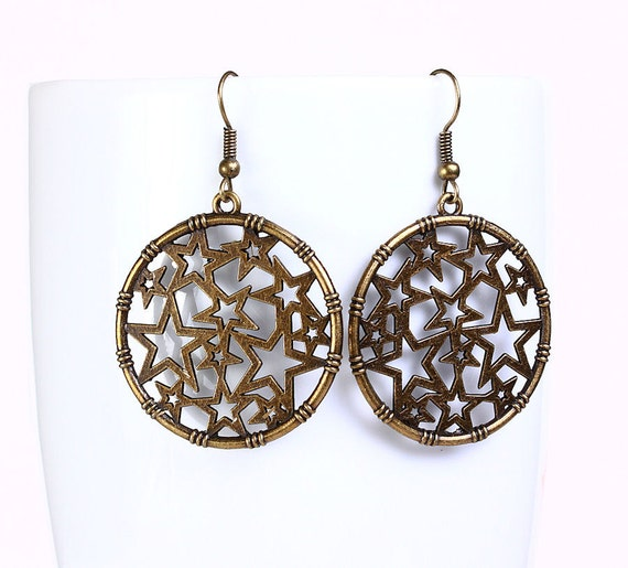 Antique brass filigree star drop earrings (540) - Flat rate shipping