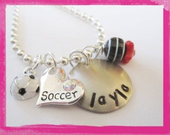 Soccer Jewelry - Hand Stamped Soccer Necklace - I LOVE SOCCER