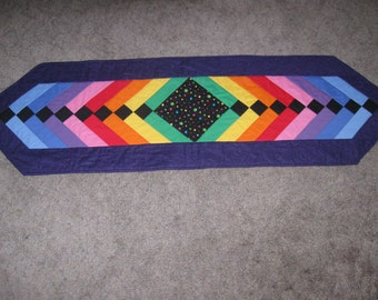 Bright Rainbow Table Runner