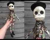 OOAK Bone Cute CowBoy Sugar Skull Art Doll