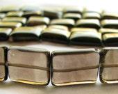 ON SALE Smoky Quartz Nuggets, smooth rectangle quartz, 16 inch full strand, 11x10mm to 16x9mm (8w8)