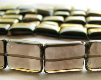 Smoky Quartz Nuggets, smooth rectangle quartz, 16 inch full strand, 11x10mm to 16x9mm (8w8)