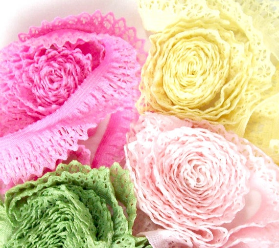 Ruffle lace elastic in 4 colors-  5 yards each for a total of 20 yards